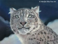 Snowleopard in mixed media