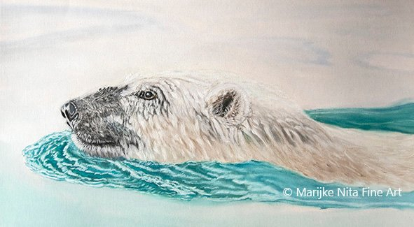 Polar bear in mixed media
